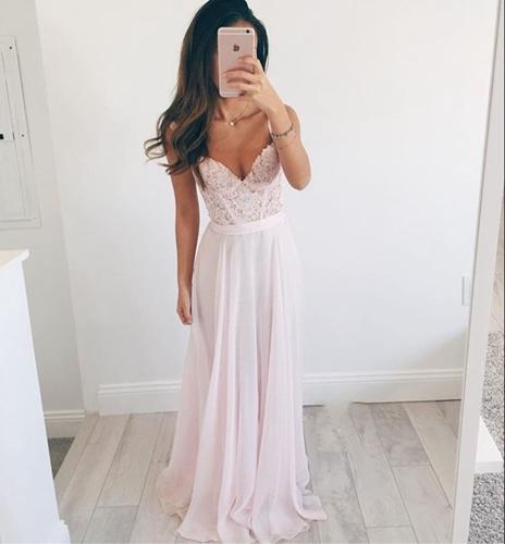 Pink Sweetheart Long Prom Dresses