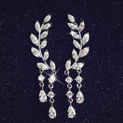 Fine jewelry collection: sliver 925 leaves & branches shaped earrings