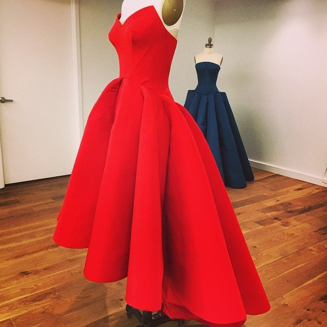 Cute Strapless A-Line High Low Red Prom Dress,cheap prom dress ...