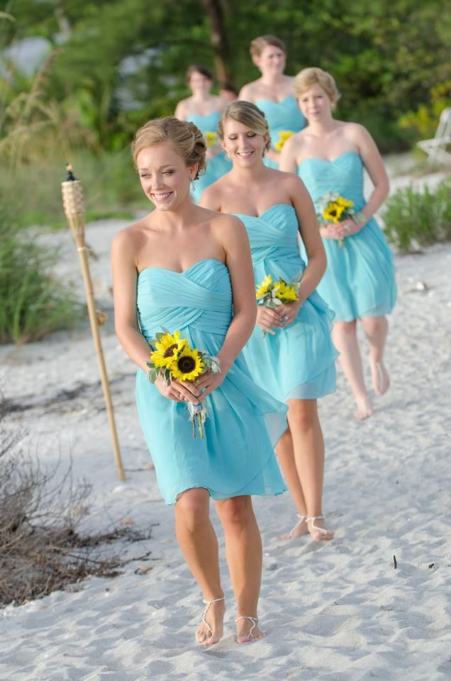 Sweethert neck Blue Chiffon Short Bridesmaid Dresses Summer Beach ...