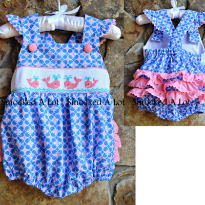 Smocked whale pink/blue polka dot ruffle butt bubble