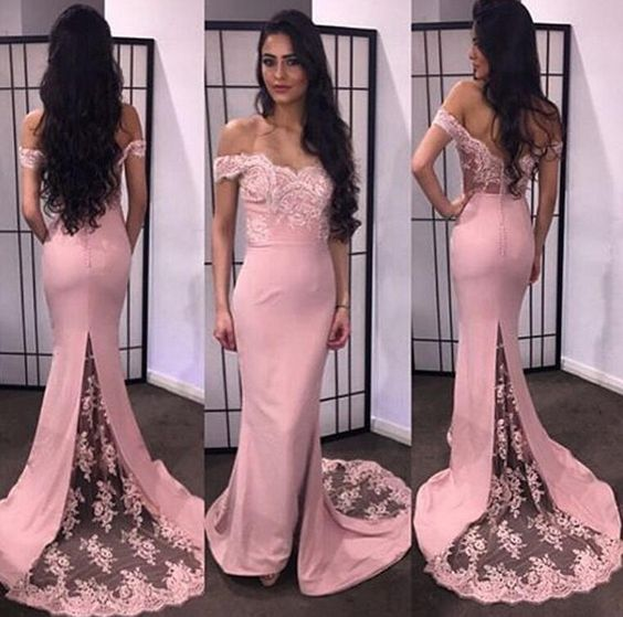 Off The Shoulder Short Sleeve Pink Chiffon Long Prom Dresses ...