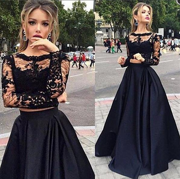Scallope Black Long Lace Top Long Evening Dress For Wedding, Woman ...