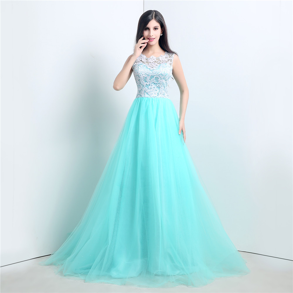 mint tulle lace top prom dress,A-line gorgeous ball gown,FS052 ...