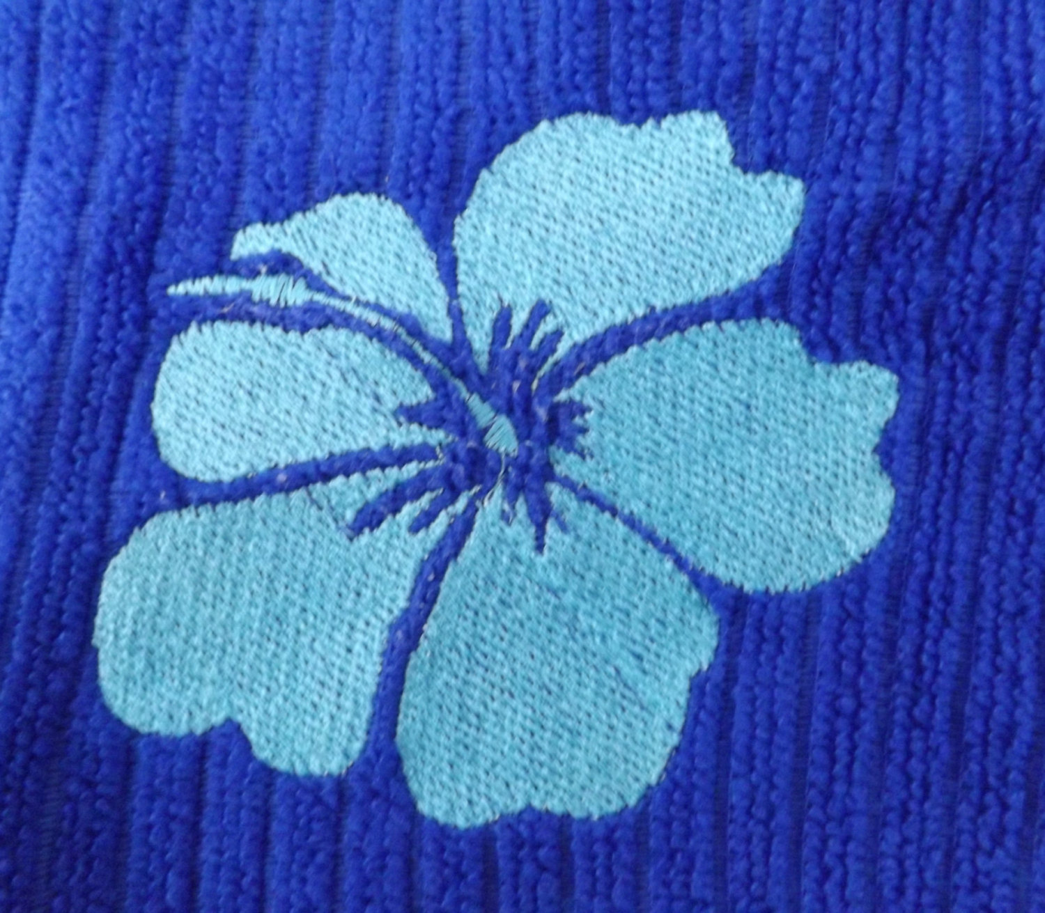 Embroidered Royal Blue Kitchen Towel With Hawaiian Hibiscus Flower
