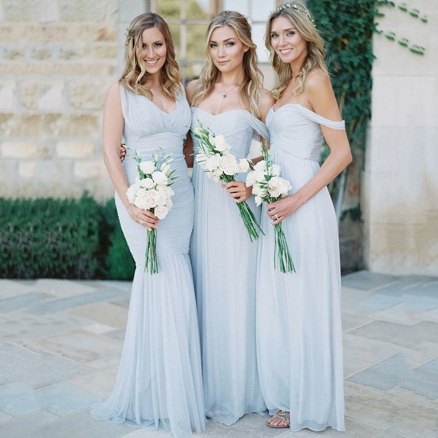 Off-the-shoulder Bridesmaid Dresses with Ruching Detail, Modern A ...