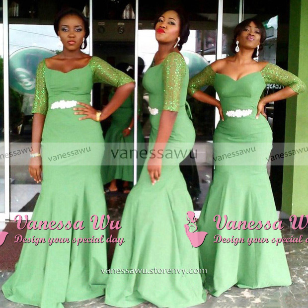 Off the shoulder Bridesmaid Dress with Beaded Belt, Clover Green ...
