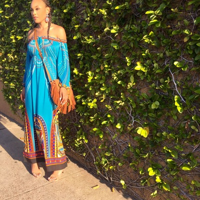 turquoise boho off the shoulder maxi