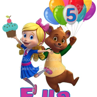 Goldie and bear personalized digital image for birthday parties - print and use for shirts and decor