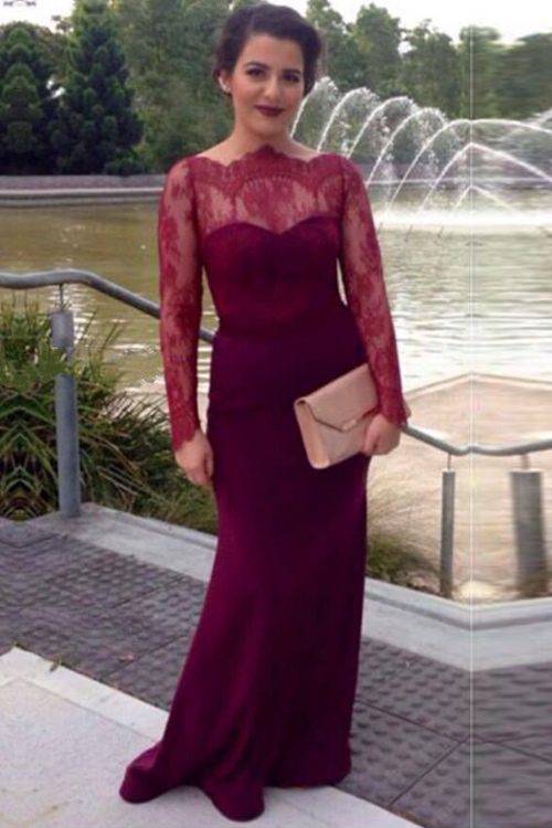 Wine lace sleeves long formal sheath prom dress,charming evening ...