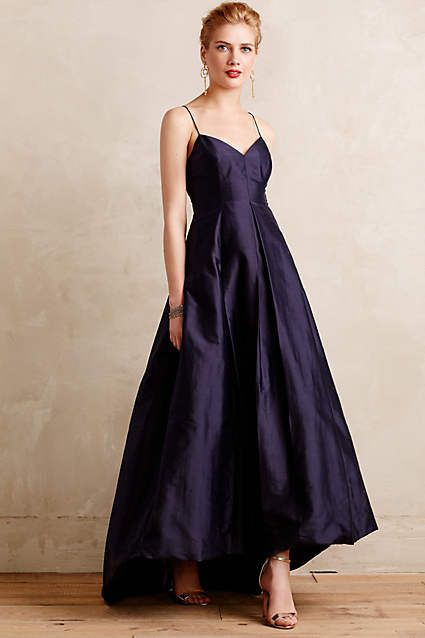 vintage high low taffeta navy blue prom dress,1950\'s party dress ...