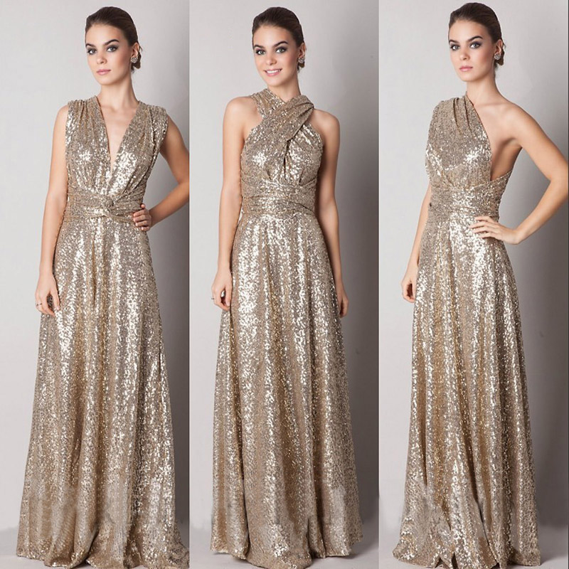 Gold sequined convertible bridesmaid dress in v neck halter one gold sequined convertible bridesmaid dress in v neck halter one shoulder sexy junglespirit Images