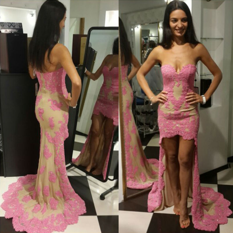Sweetheart Pink Prom Dress, High Low Sheath Prom Dresses with Pink ...