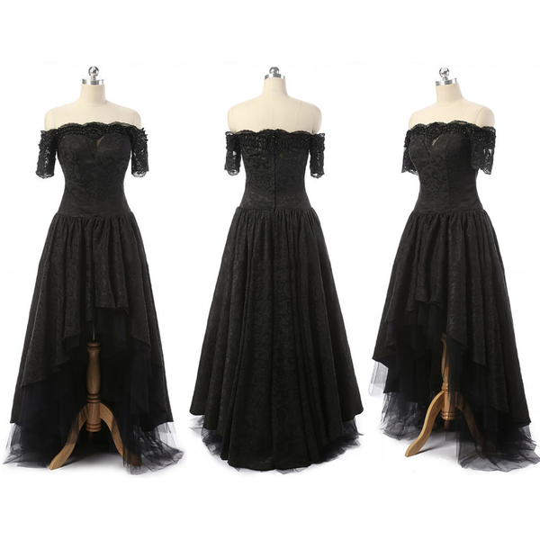 Off The Shoulder High Low Prom Dresses Asymmetrical Gothic Black