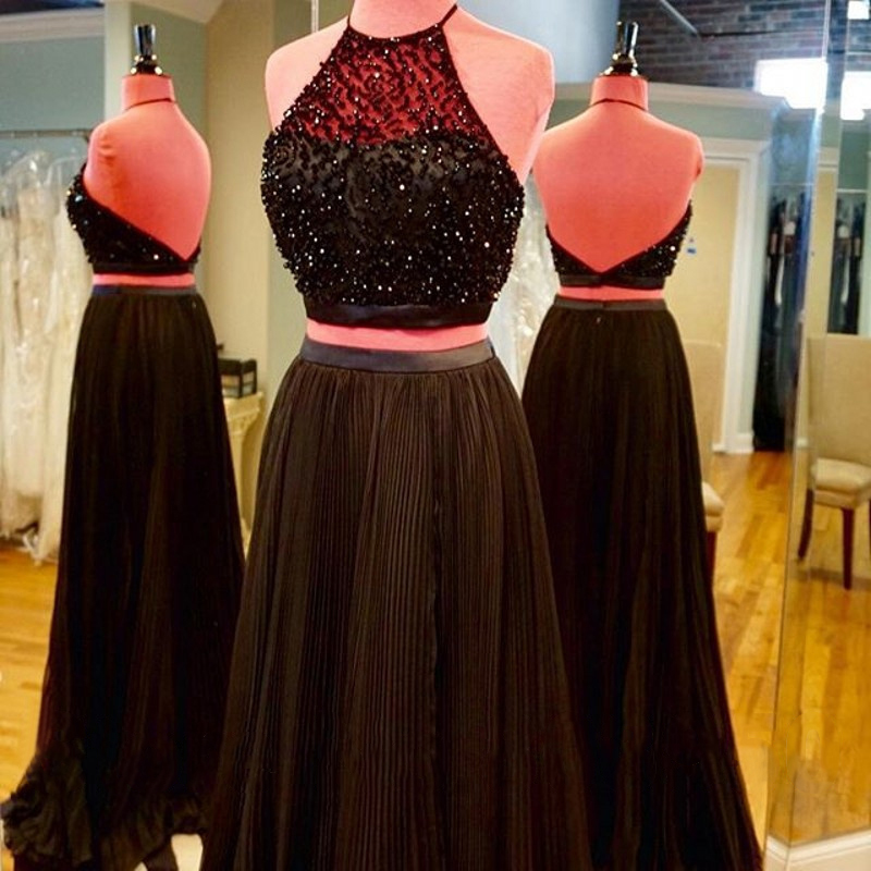 Halter Backless Prom Dress, Floor-length Black Prom Dress, Two Piece ...