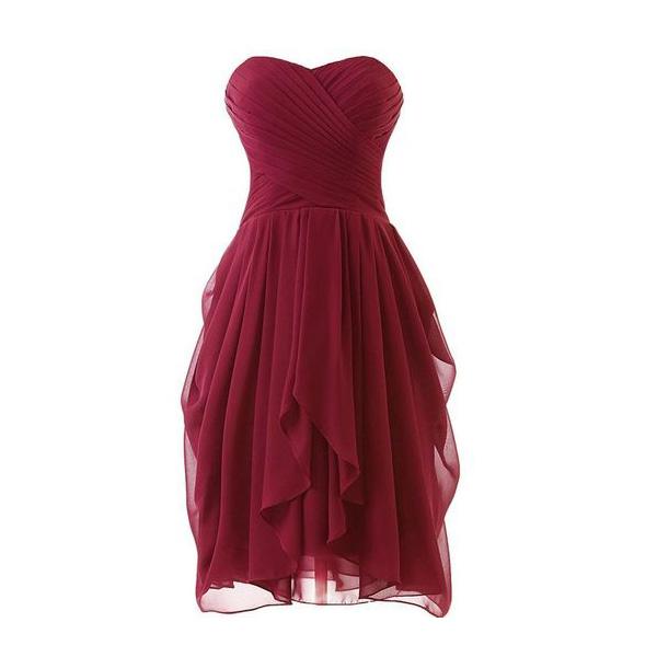 Chiffon cheap sweetheart simple bridesmaid dress short for Short cheap wedding dresses under 100