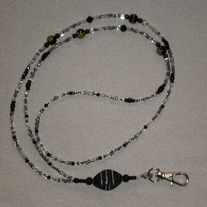 Beaded Lanyard Black/Clear/White