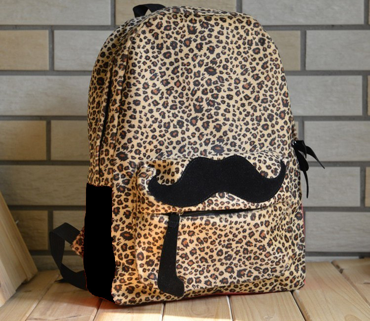 Womens fashion mustache Leopard print school Backpack student girls ...