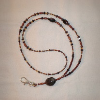 Beaded Lanyard Brown/Amber/Gold (Spec. Order)
