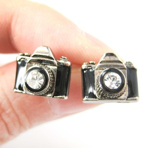 Tiny Camera Stud Earrings in Black on Silver with Rhinestone Lens
