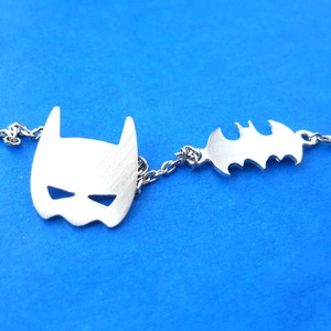 Batman Bat Logo and Mask Symbol Charm Necklace in Silver
