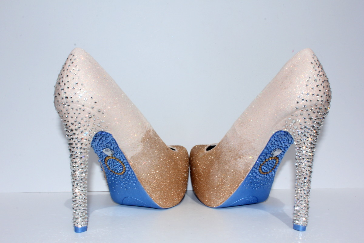 gold wedding heels custom glitter prom shoes with ring on