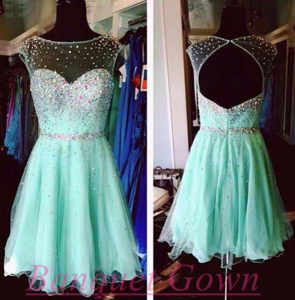 Sparkle Tulle Prom Gown with Beadings,Green Prom Dresses,Mint ...