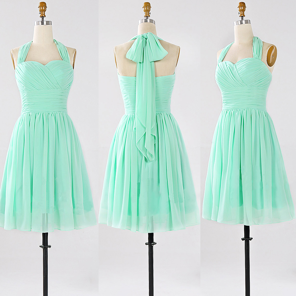 Halter bridesmaid dresses with ruching detail short sage halter bridesmaid dresses with ruching detail short sage bridesmaid gowns modest mini chiffon bridesmaid ombrellifo Gallery