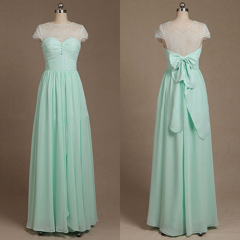 Beautiful illusion bridesmaid dresses short sleeve for Short green wedding dresses