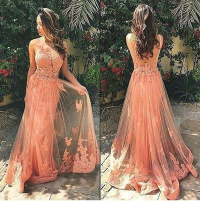 Beauty Lace Applique Long Peach prom dress, Charming Evening dress ...