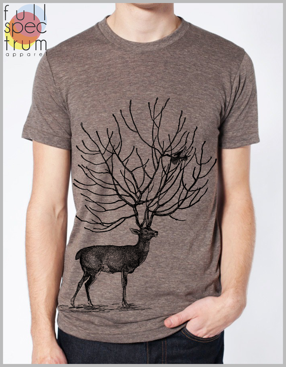 T Shirt Mens Deer and Bird Nature Animal Tee American Apparel Unisex XS, S,