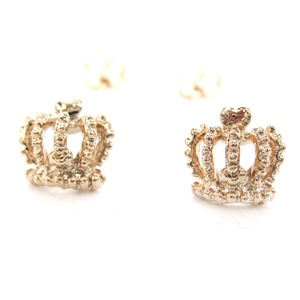 Crown Shaped Royalty Princess Themed Stud Earrings in Rose Gold