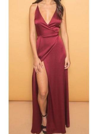 Simple wine red prom dress,V-neck backless long prom dress,formal ...