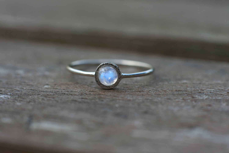 Rainbow moonstone ring in 14k white gold moonstone engagement ring