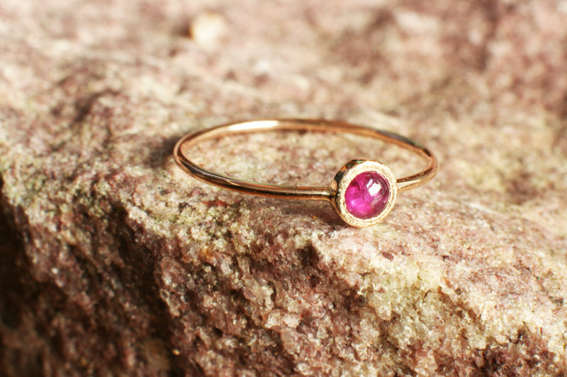 tiny ruby ring in solid 14k gold thick gold ring july