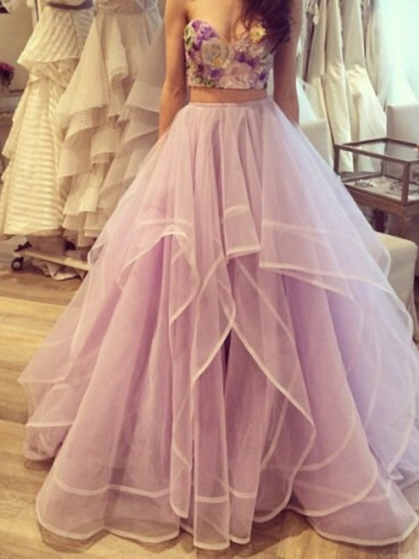 long prom dresses,Lavender A-line Sweetheart Floor-length Tulle ...