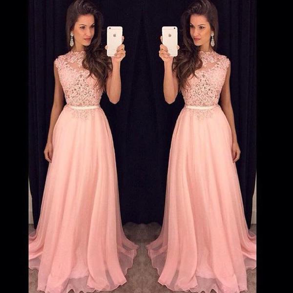 Poofy Prom Dressespink A Line Bateau Floor Length Chiffon Evening