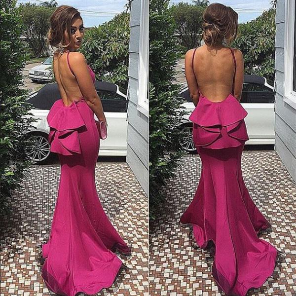 different prom dresses,Fuchsia Trumpet Mermaid Scoop Sweep Brush ...