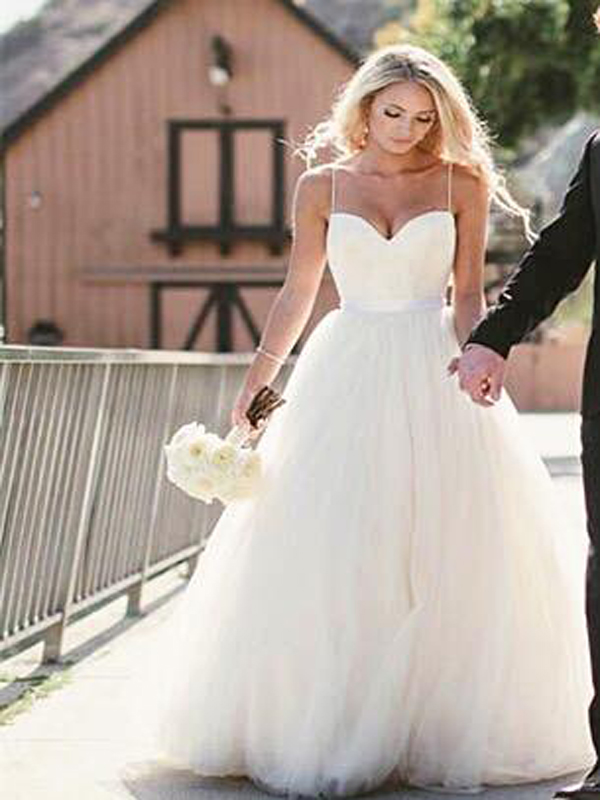Cute Spaghetti Straps wedding dress,Sweetheart Princess Wedding ...