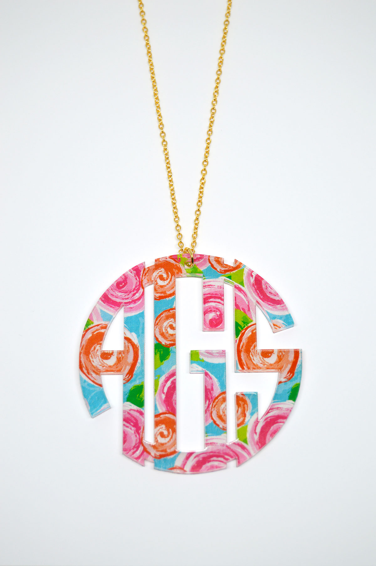 lilly pulitzer inspired monogrammed necklace  acrylic monogram necklace  u00b7 sassy southern gals