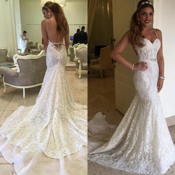 backless wedding dress,long mermaid wedding dress,lace wedding dress ...