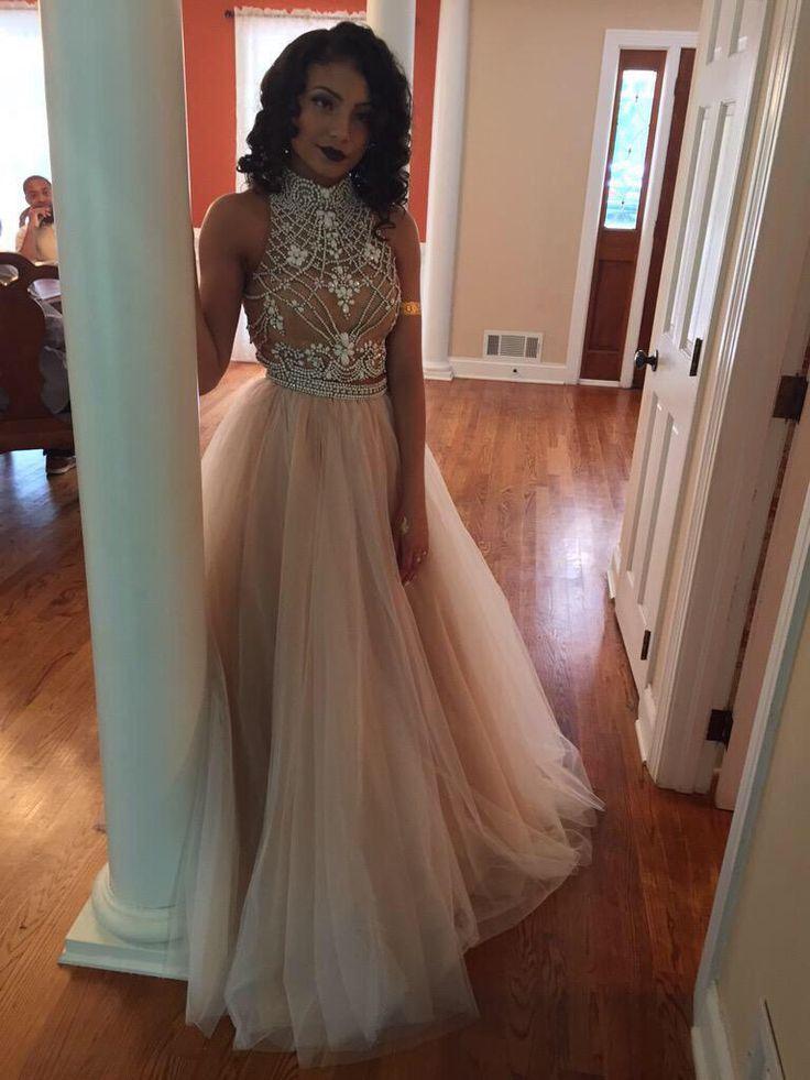 Ulass Charming Prom Dress Tulle Prom Dress A-Line Prom Dress High ...