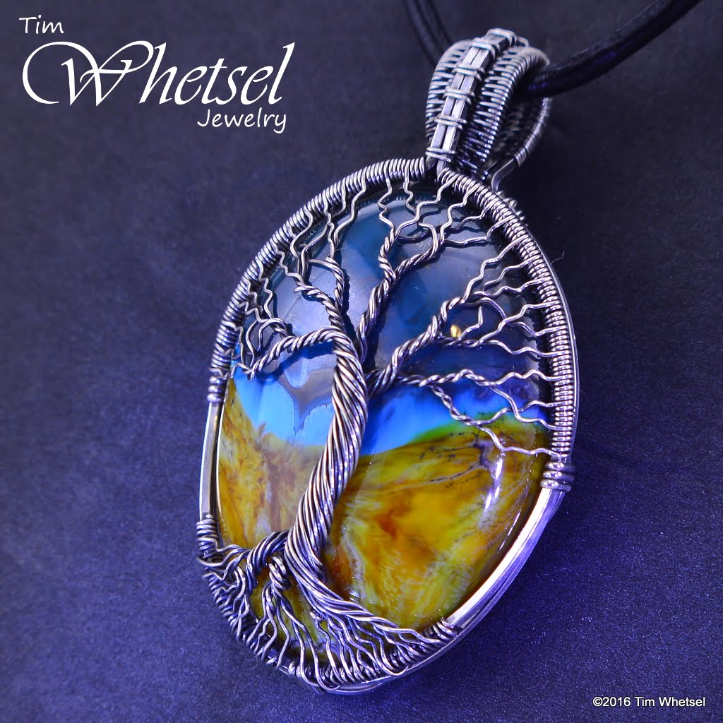 Sterling Silver Tree Of Life Pendant With Glass Cabochon