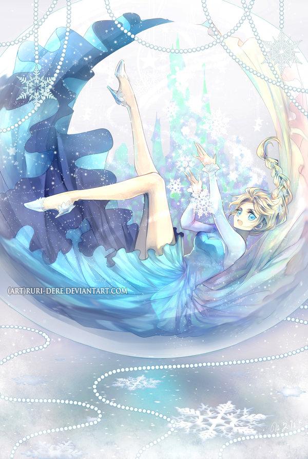 snow globe elsa frozen disney princess anime art fan art poster12x18