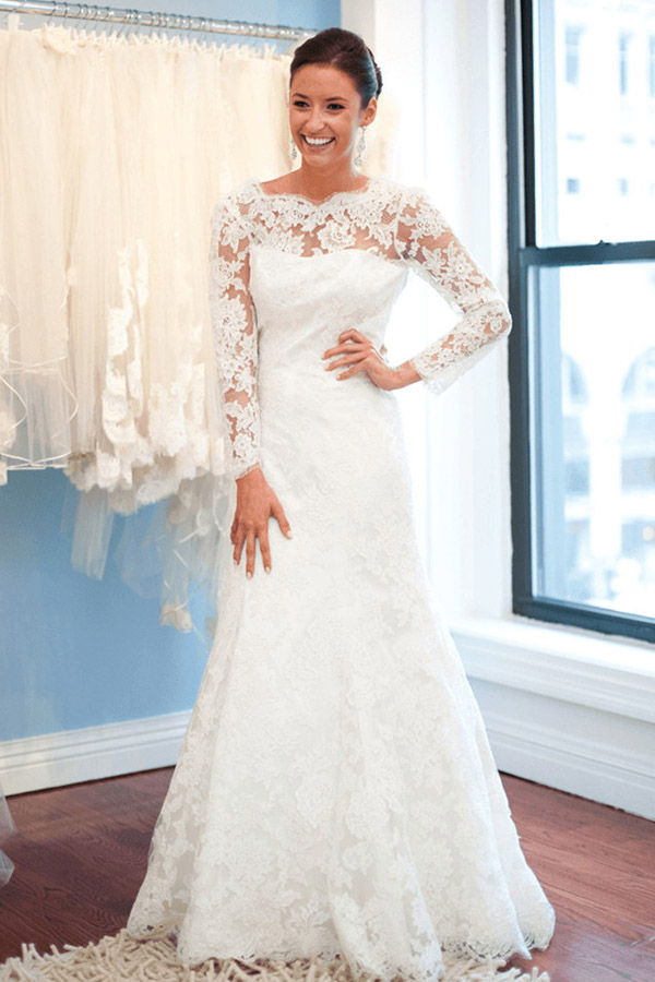 long white wedding dress, lace wedding dress,a-line wedding dress ...