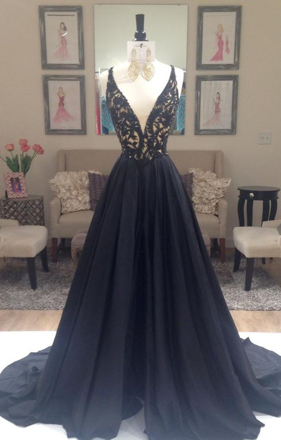 pretty black lace long prom dress 2016 for teens, unique cute long ...