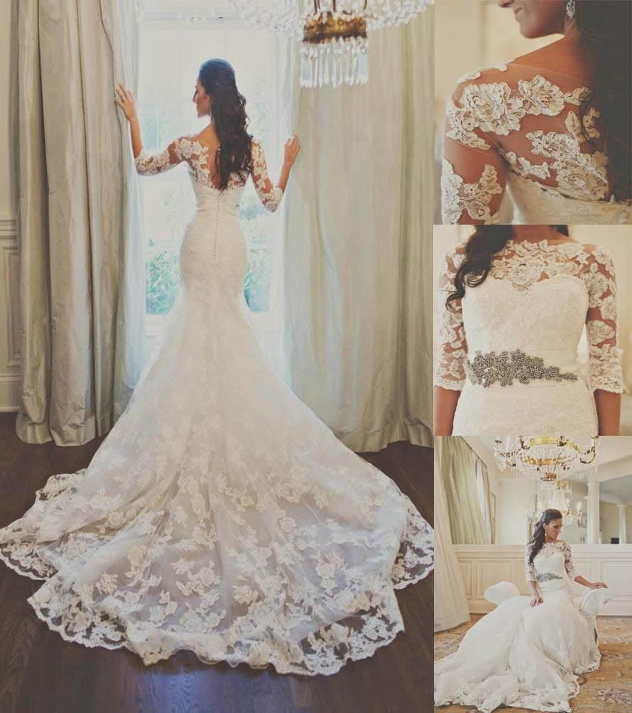 Ulass Lace Mermaid White/Ivory Wedding Dress Bridal Gown · Ulass ...
