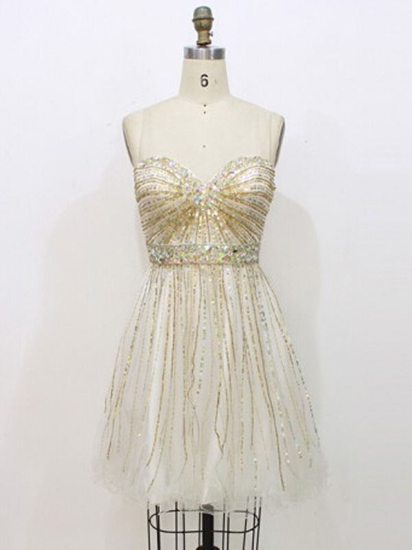 gold prom dresses,Gold A-line Sweetheart Short Mini Tulle Homecoming ...