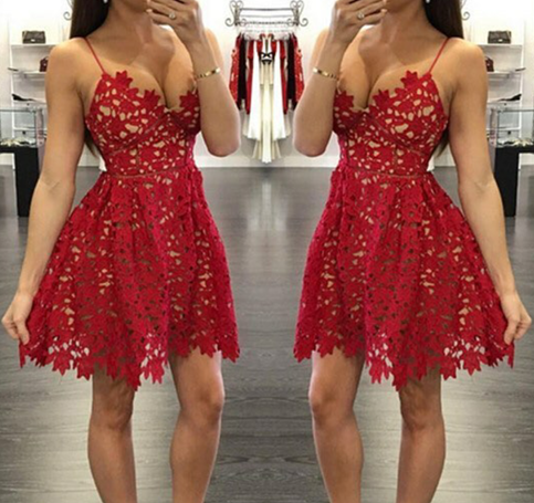 2016 Pretty red lace prom dresses,short prom dress,homecoming ...