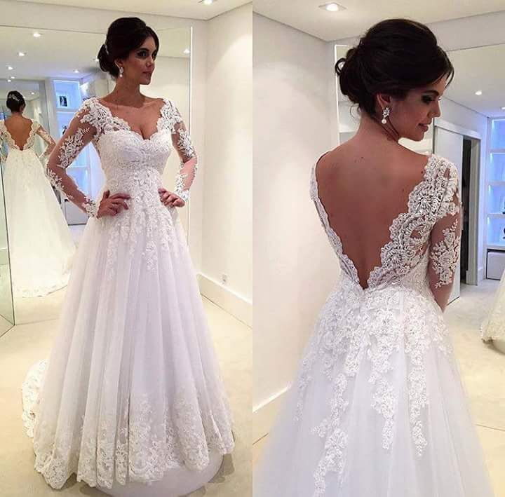 Sweetheart Backless A Line Tulle Lace Long Sleeve Wedding Dress ...